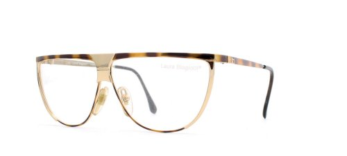 Laura Biagiotti V89 63E Brown and Gold Authentic Women Vintage Eyeglasses - Glasses Biagiotti Laura