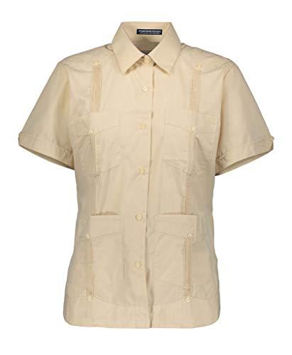 (AKA Women's Guayabera Shirt Wrinkle Free Short Sleeve Linen Look Natural Large )