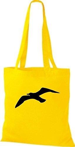 ShirtInStyle Bolso de tela Bolsa de algodón Vela Motivo Gaviota amarillo