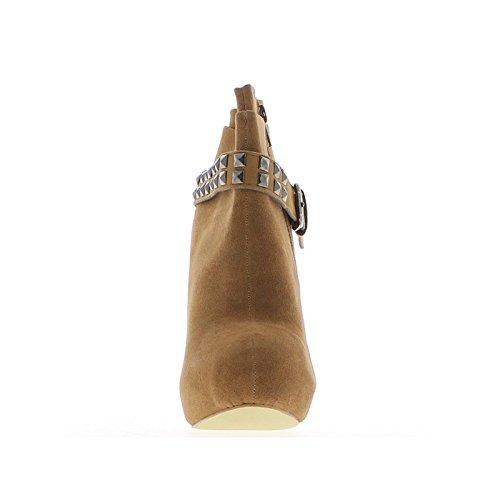 Bottines femme camels à plateforme intégrée de 3cm et talons de 12,5cm