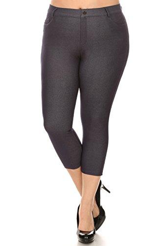 ICONOFLASH Women's Plus Size Navy 5 Pocket Capri Jeggings 2XL - Pull On Skinny Stretch Colored Jean Leggings Size 2X-Large