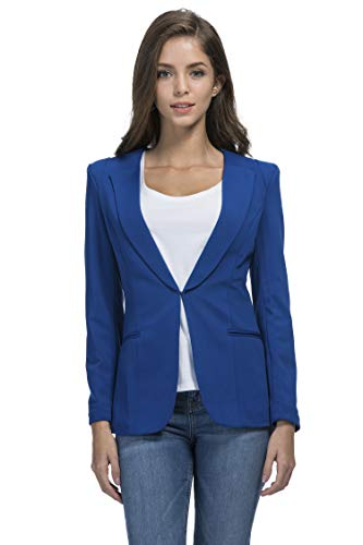 JHVYF Womens Casual Basic Work Office Cardigan Tuxedo Summer Blazer Open Front Boyfriend Jacket Blue Tag 5XL/US 14