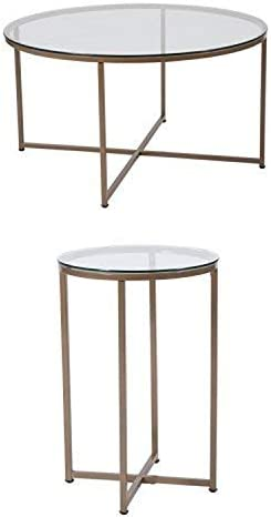 Flash Furniture Greenwich Collection 3 Piece Coffee and End Table Set with Glass Tops and Matte Gold Frames