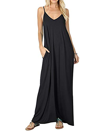 YESNO Womens Casual Adjustable Spaghetti Strap V Neck Long Maxi Summer Dress Solid A-Line Slip Beach Cover up/Pocket R02