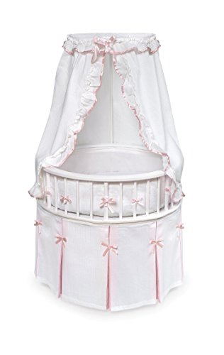 Badger Basket Elegance Round Baby Bassinet, White/Pink