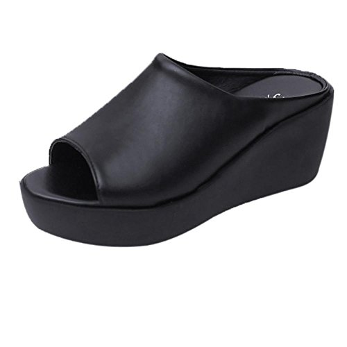 RAISINGTOP Lady Summer Fashion Leisure Fish Mouth Sandals high Heel Platform Slippers flip Flops Women Slim Wedges