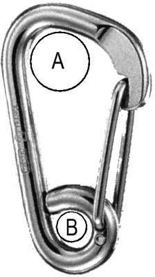 Wichard Stainless Steel Carbine Hook - Asymmetric with Eye