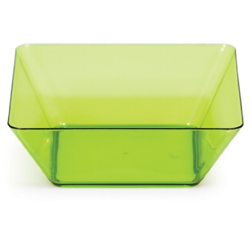 Creative Converting 4 Count Square Plastic Bowls, 5-Inch, Translucent Green