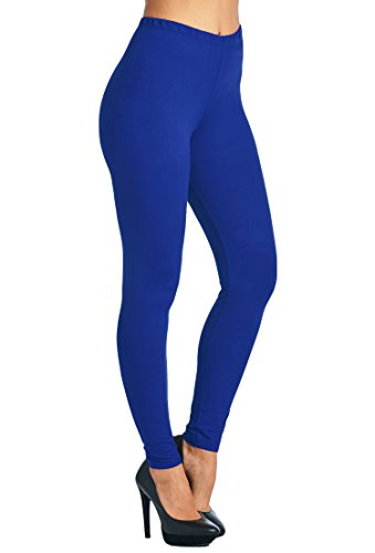 Length Blue Color (Leggings Mania Women's Solid Color Full Length High Waist Leggings, Royal Blue, One Size)
