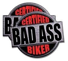 "2pcs Certificated Bad A$$ Biker Hard Hat Sticker / Decal / Label Tool Lunch Box Helmet Funny Flag /Bumper / Truck / Sticker / Decal 2"""