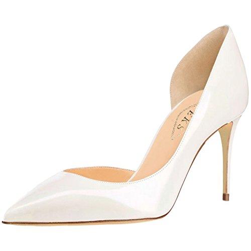 EKS Damen Fllosace Stilettos spitze Zehe Pumpen-Schuhe White-Lackleder