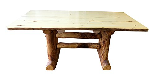 Aspen Log Furniture - Mountain Woods Furniture Aspen Heirloom Collection Dining Table,  7', Bronze Aspen Finish
