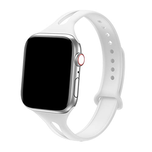 Bandiction Sport Band Compatible with Apple Watch 38mm 40mm, Soft Silicone Sport Strap Replacement Narrow Bands for iWatch Series 4, Series 3, Series 2, Series 1, Sport Edition Women Men (White)