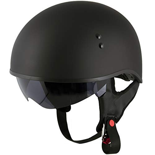Dot Outlaw Motorcycle - Outlaw T68 'Outlaw' Version 2 DOT Flat Black Motorcycle Skull Cap with Drop Down Visor - Flat Black/Small