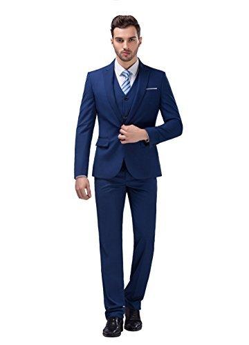 POSHAWN Men's Slim Fit Notch Lapel Three Piece Suit Set - Express For Suit Men