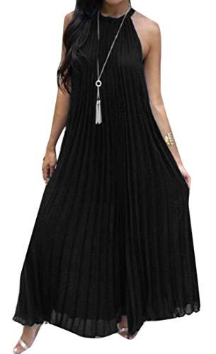 - Pandapang Women's Casual Sleeveless Pleated Chiffon Big Hem Halter Beach Maxi Dress Black Large
