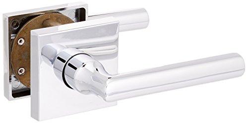 Baldwin FDTUBCSR260 Reserve Full Dummy Lockset x Tube with Contemporary Square Rose, Bright Chrome Finish