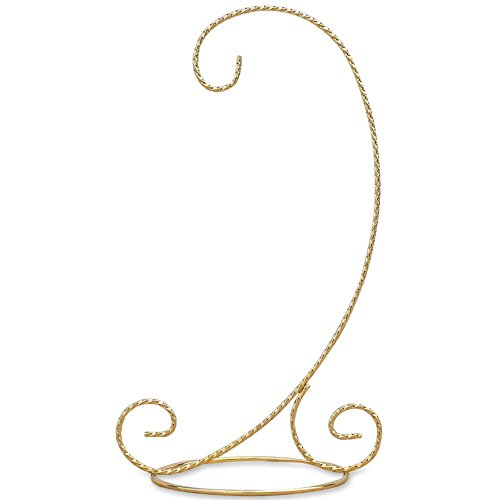 - BestPysanky Curved Gold Tone Twisted Brass Metal Ornament Stand 9.5 Inches
