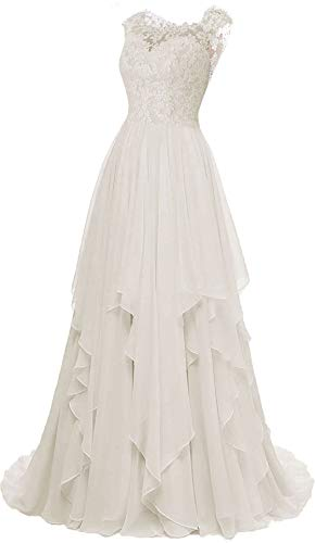 Wedding Dress Lace Bridal Dresses Beach Wedding Gown A line Bridal Gown Chiffon White