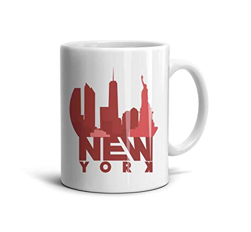 DNSIFH55 White Ceramic Cup Mini New York Design 11 oz Tea Mugs Used to Hold Latte Cappuccino Tea Coffee Water Drinks Milk for Boyfriend