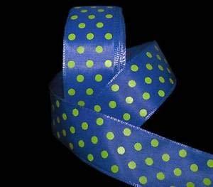 5 Yards Blue Lime Green Sugar Polka Dot Wired Ribbon 1 1/2
