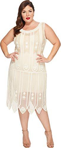 Unique Vintage Women's Plus Size Steinway Flapper Dress Ivory 3X (US -