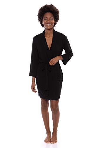 Women's Short Jersey Kimono Robe (Oarla, Black, 2X) for Her (Jersey Kimono)
