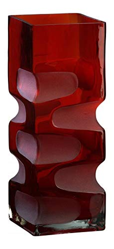 Red Etched Vases - Red 11.5in. Small Ruby Etched Vase Red