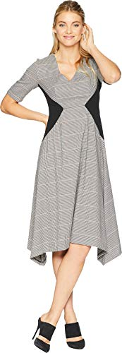 Donna Morgan Women's V-Neck Fit and Flare Dress, Brown/Multi, 4