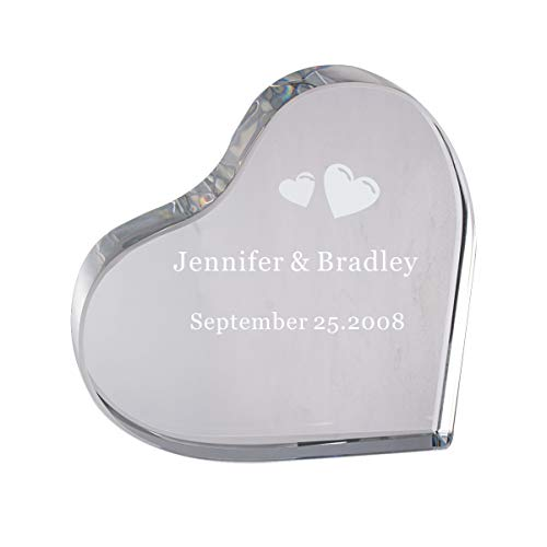 LONGWIN Personalized Heart Shaped Crystal Award Customize Glass Trophy for Your Lover Christmas