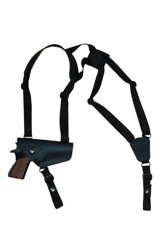 Barsony Horizontal Black Leather Shoulder Holster for Full Size 9mm 40 45 from Barsony Holsters and Belts