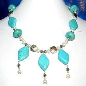 CF165 Turquoise Temptation Turquoise & Pearl Gemstone w Silver 18