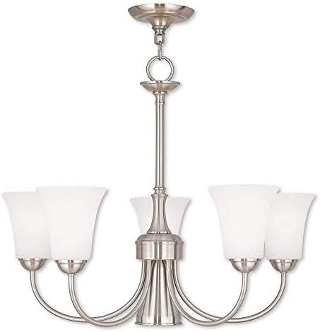 Livex Lighting 6465-91 Ridgedale – Six Light Dinette Chandelier, English Bronze Finish with Satin Opal White Glass