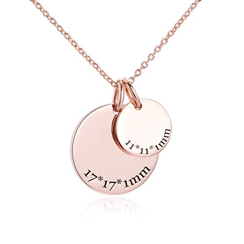 LONAGO Custom Name Necklace Personalized Initial Alphabet Sterling Silver Copper White Rose Gold PlatedEngraved Pendant with Adjustable Chain (Rose-Gold-Plated-Silver) (Heart 18k Tag Necklace Gold)