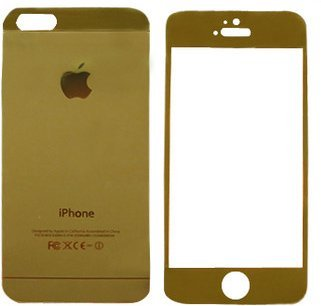 Macc Tempered Glass Golden Front and Back Mirror Screen Guard for Apple iPhone 4/4S Screen guards