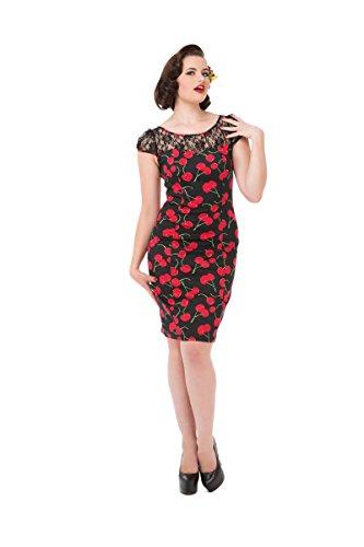 Coeurs Et Roses H & R Cerise Noire Et Rouge Robe Wiggle
