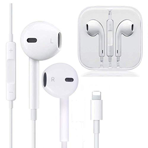 NCLINGLU Earbuds Headset Wired Earphones Headphone with Microphone and Volume Control, Compatible with iPhone Xs/XS Max/XR/X/8/8 Plus/7 and iOS 10/11/12 (White)