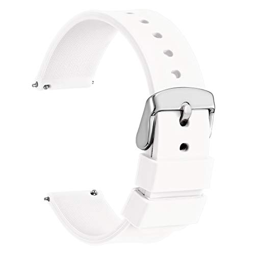 WOCCI Silicone Watch Band 20mm,Soft Rubber Replacement Straps with Quick Release (White)
