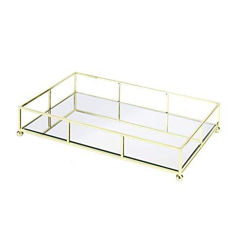 Bandeja dorada con espejo | Bandeja de tocador | Almacenamiento Decorativo | Espejo de joyeria y organizador de maquillaje | Vanity Tray | M&W