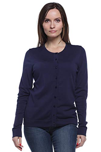 August Silk Women's Long Sleeve Crew Neck Silk Twin Cardigan, Parisian Navy, Medium