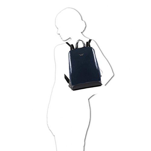 PIQUADRO W79 Zaino piccolo donna in pelle lucido MADE IN ITALY BLU