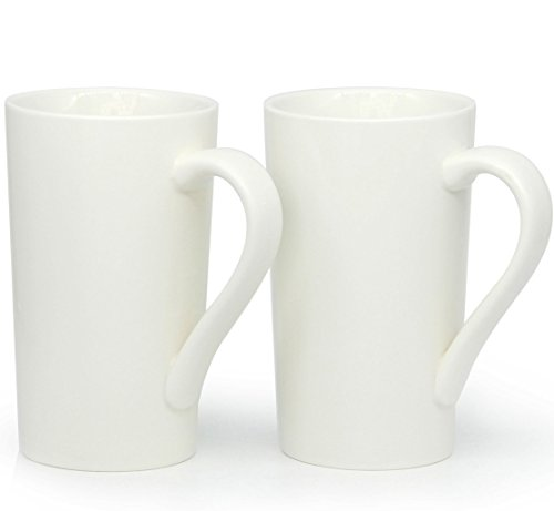 - 20 oz Large Coffee Mugs, Zocokey M007 Plain Tall Ceramic Cup with Handle for Dad Men, Set of 2, White