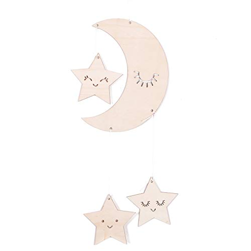 WSSROGY Wooden Eyelashes Moon with Stars Nursery Ceiling Crib Mobile Baby Mobile Ceiling Hanging Decorations for Baby Shower Baby ()