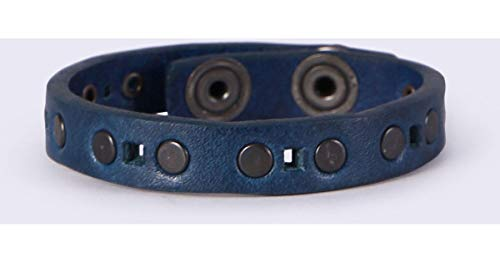 Diesel A-STTOP Studded Leather Bracelet, Navy