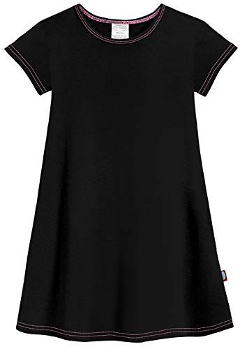 City Threads Big Girls' Cotton Short Sleeve Cover Up Dress for Sensitive Skin SPD Sensory Friendly, Black, 12