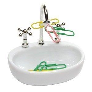 JDYYICZ White Plastic Faucet Sink design Paper Clip Dispenser Holder with Colour Paper Clip 15pcs