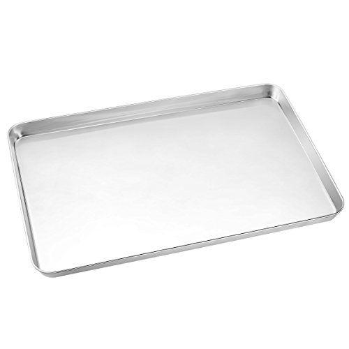 Stainless Steel Steel Cookie Sheet - Large Baking Sheets, HKJ Chef Baking Pans & Stainless Steel Cookie Sheets & Toaster Oven Tray Pans, Rectangle Size 24L x 16W x 1H inch & Non Toxic & Healthy,Superior Mirror & Easy Clean