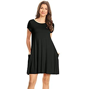 Casual T Shirt Dress for Women Flowy Tunic Dress with Pockets Reg and Plus Size – USA