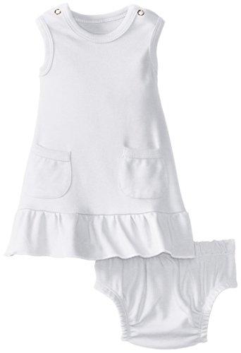 L'ovedbaby Baby-Girls Newborn Organic Baby-Doll Dress, White, 9/12 - Doll Sleeveless Dress Baby