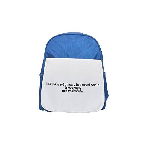 Tener un suave corazón en un mundo cruel es coraje; no debilidad.. impreso Kid 's azul mochila, para mochilas, cute small Mochilas, cute negro mochila, Cool mochila negra, moda mochilas, Gran Fa